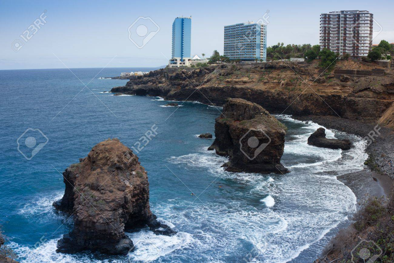 Beaches And Hotels Of Puerto De La Cruz Tenerife Spain Stock Photo Picture And Royalty Free Image Image 18984796