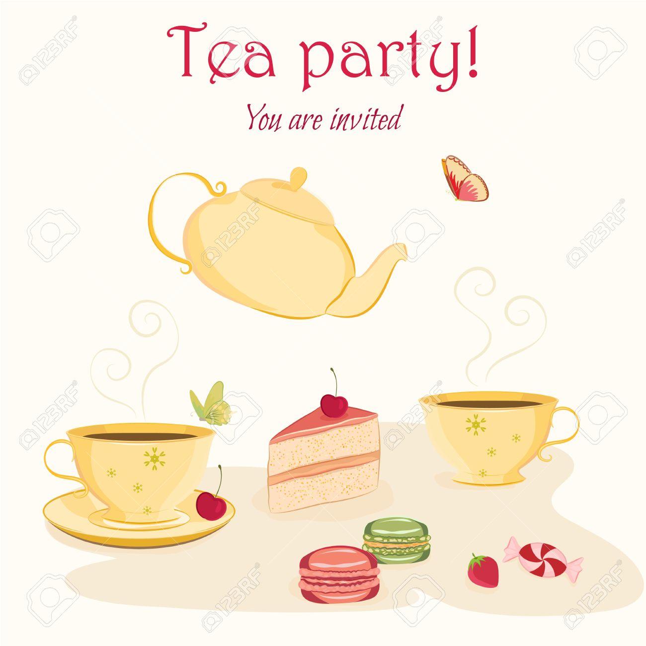 Einladung Vorlage Für Tee Oder Geburtstagsfeier Mit Hand ...