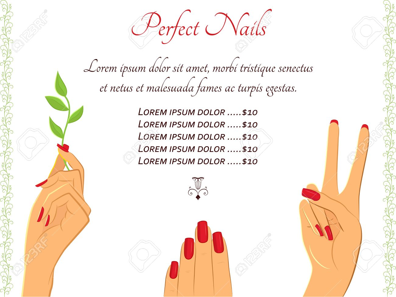 flyer template for beauty manicure salon elegant female hands flyer template for beauty manicure salon elegant female hands in different gestures can