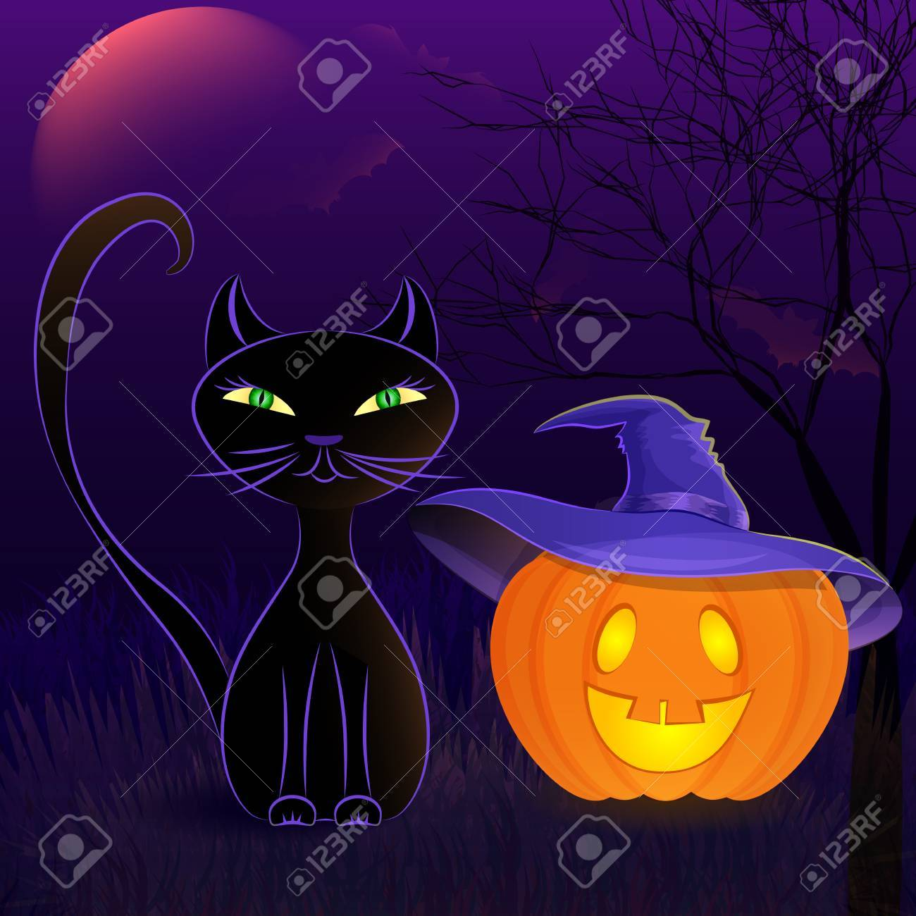 Halloween Night Vector Poster With Black Cat Jack O Lantern Royalty Free Cliparts Vectors And Stock Illustration Image 44896521
