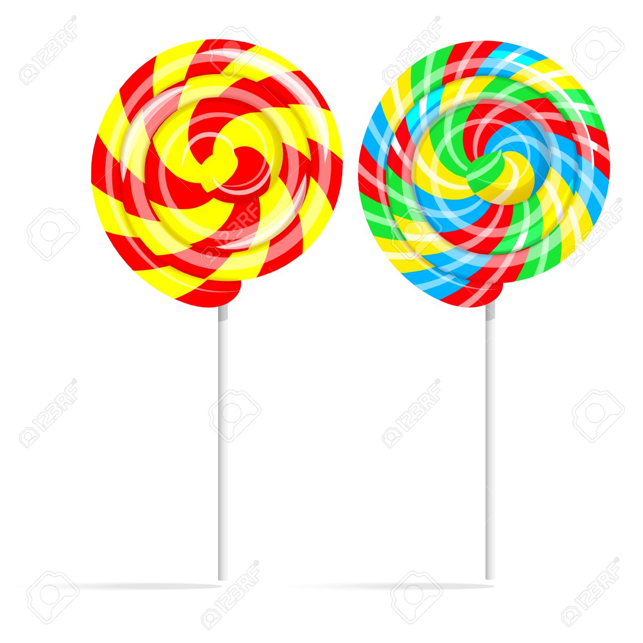 Colorful swirl lollipop set. Lollipop candy on a stick isolated on white background - 53496759