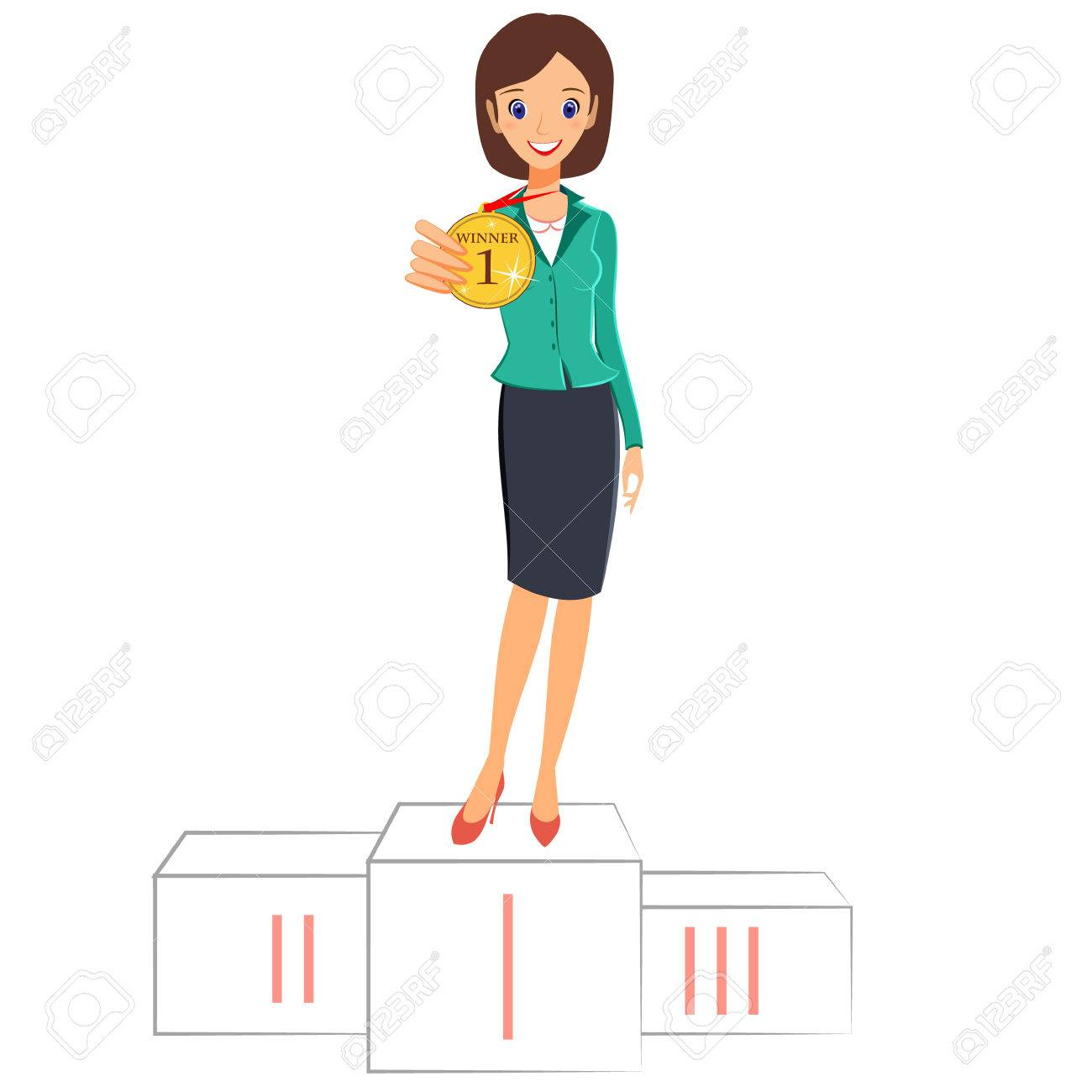 Businesswoman winner success concept. Excited smiling cartoon character vector female business woman winner standing in first place on a podium and showing a medal. Isolated on white background - 55883565