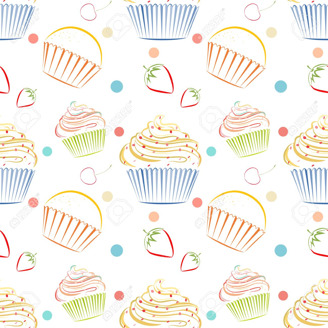 Charmant Kitchen Themed Wallpaper. Elegant Vector Seamless Pattern With Different  Cupcakes. Unique Doodle Style Line Drawing Food Background With