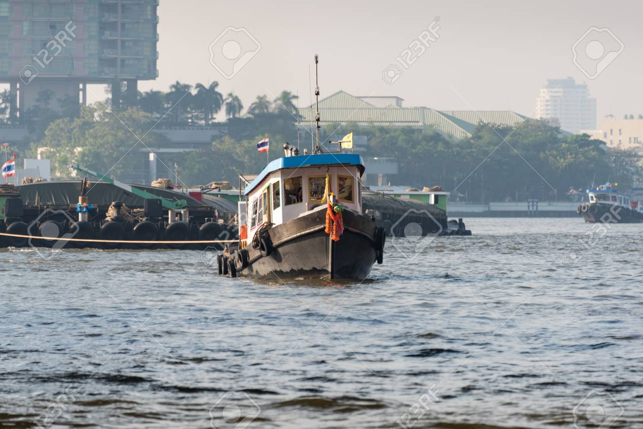 Public transport boat on Chao Phraya river in Bangkok, Thailand