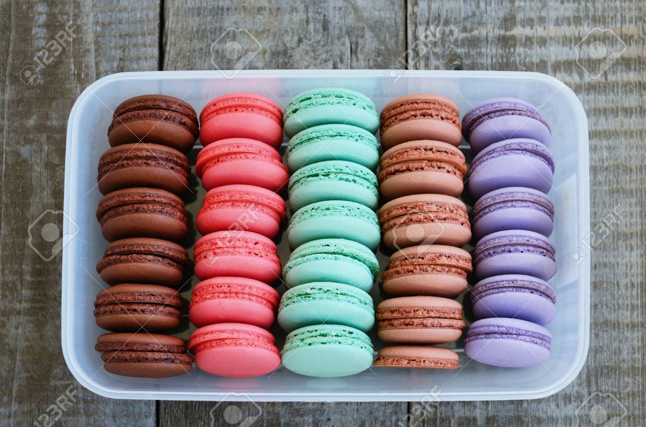 Set Of Macaroon Cups Of Different Colors - Brown, Pink, Mint ...