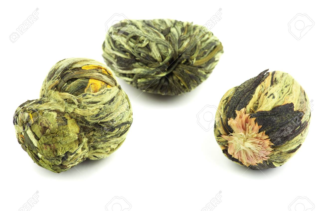 Aromatic Flower Green Tea On White Background Stock Photo Picture