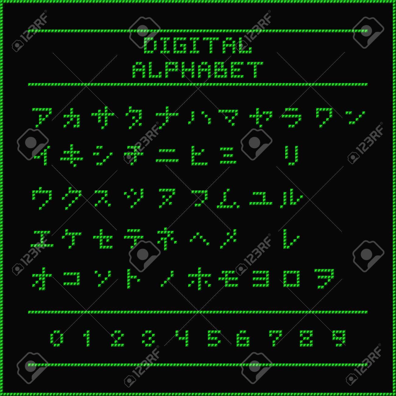 Digital alphabet  Font of the green dots - katakana letters