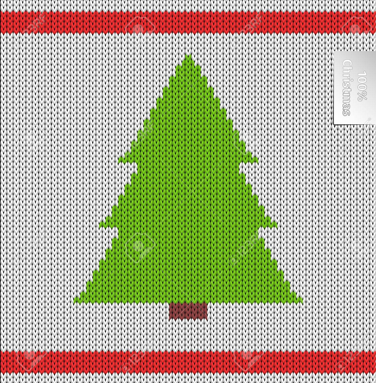 Christmas Tree Knitted Pattern. Background Vector Illustration ...