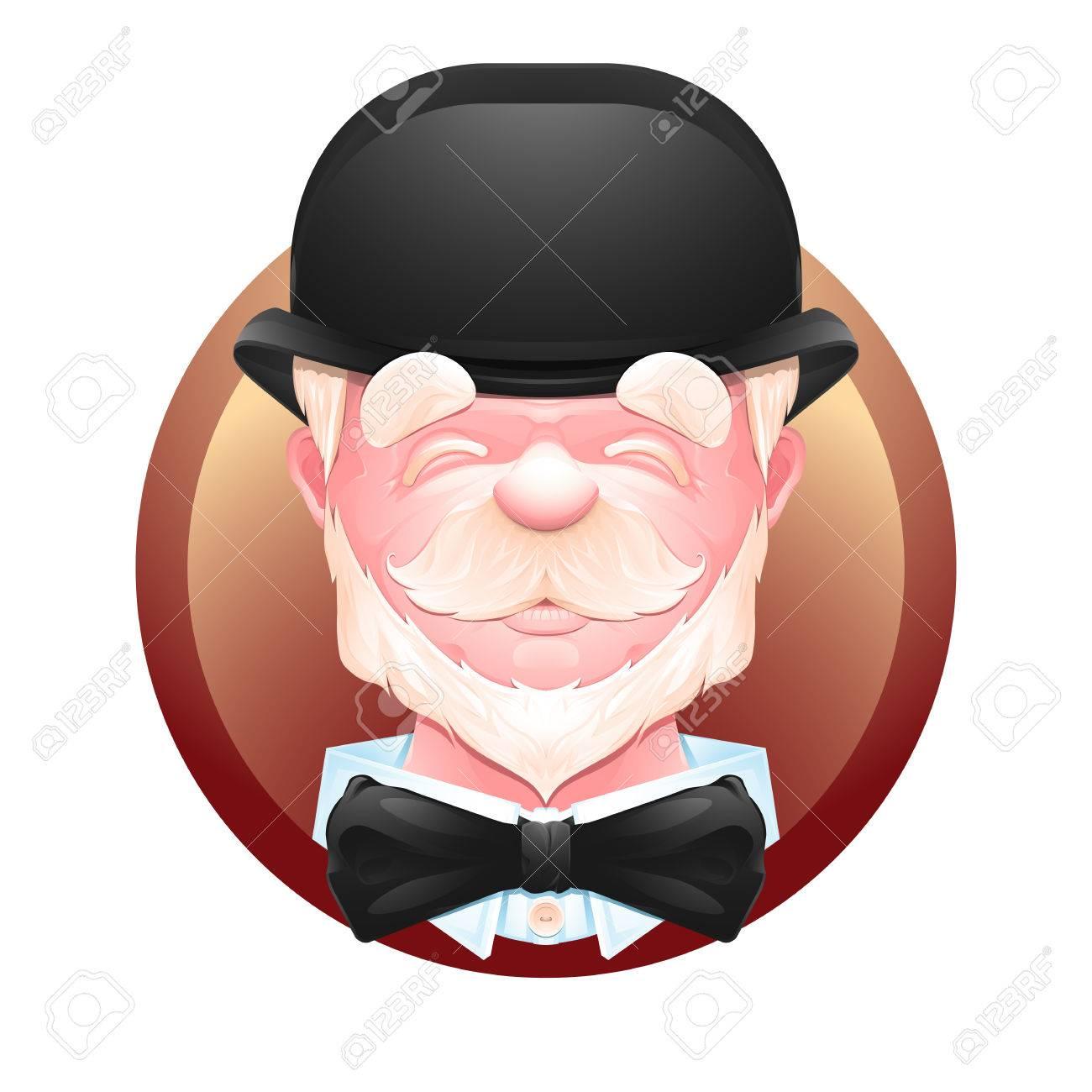 Closeup Portrait Of An Cheerful Elderly Gentleman In A Bowler