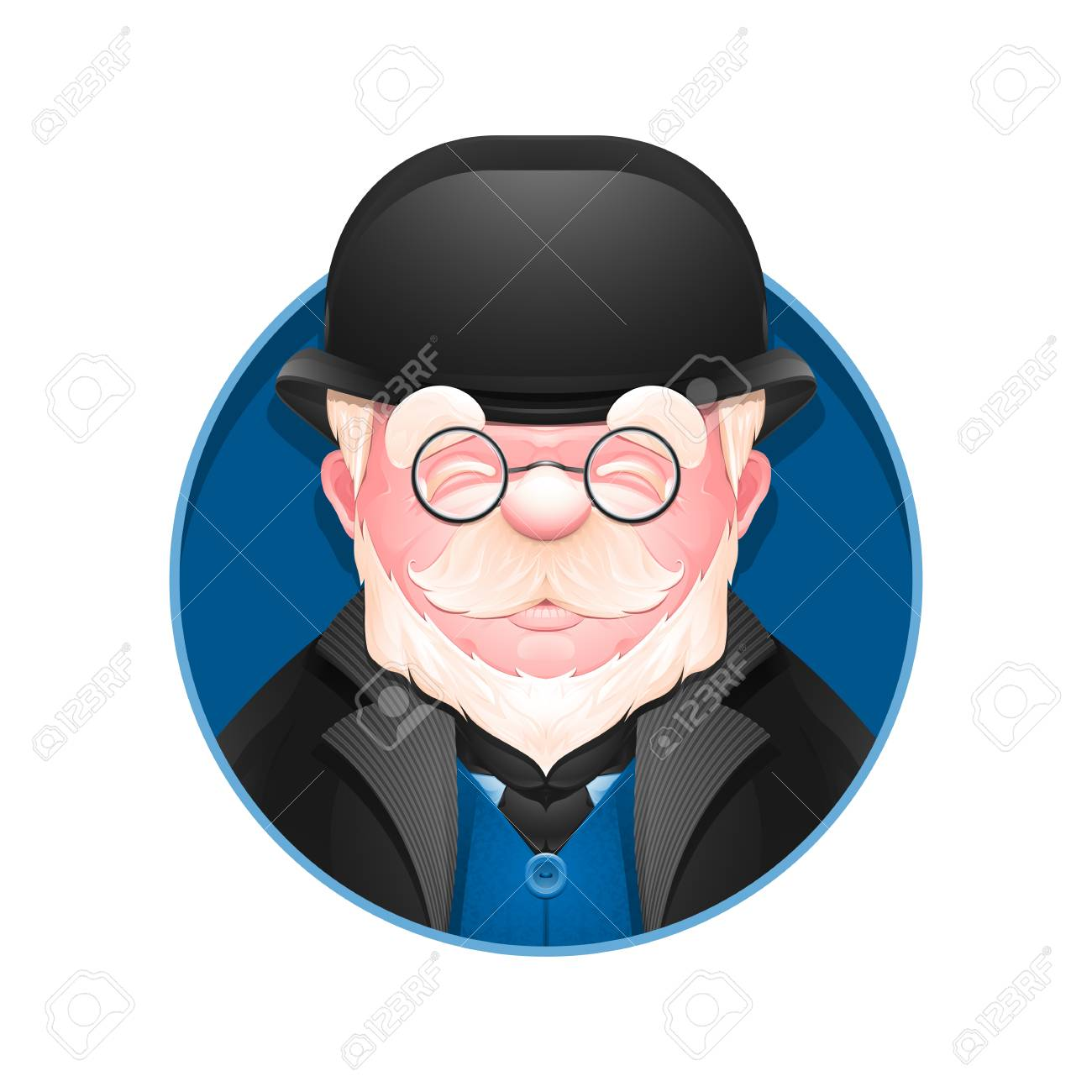 Avatar Icon Portrait Of An Adult Business Man In A Bowler Hat