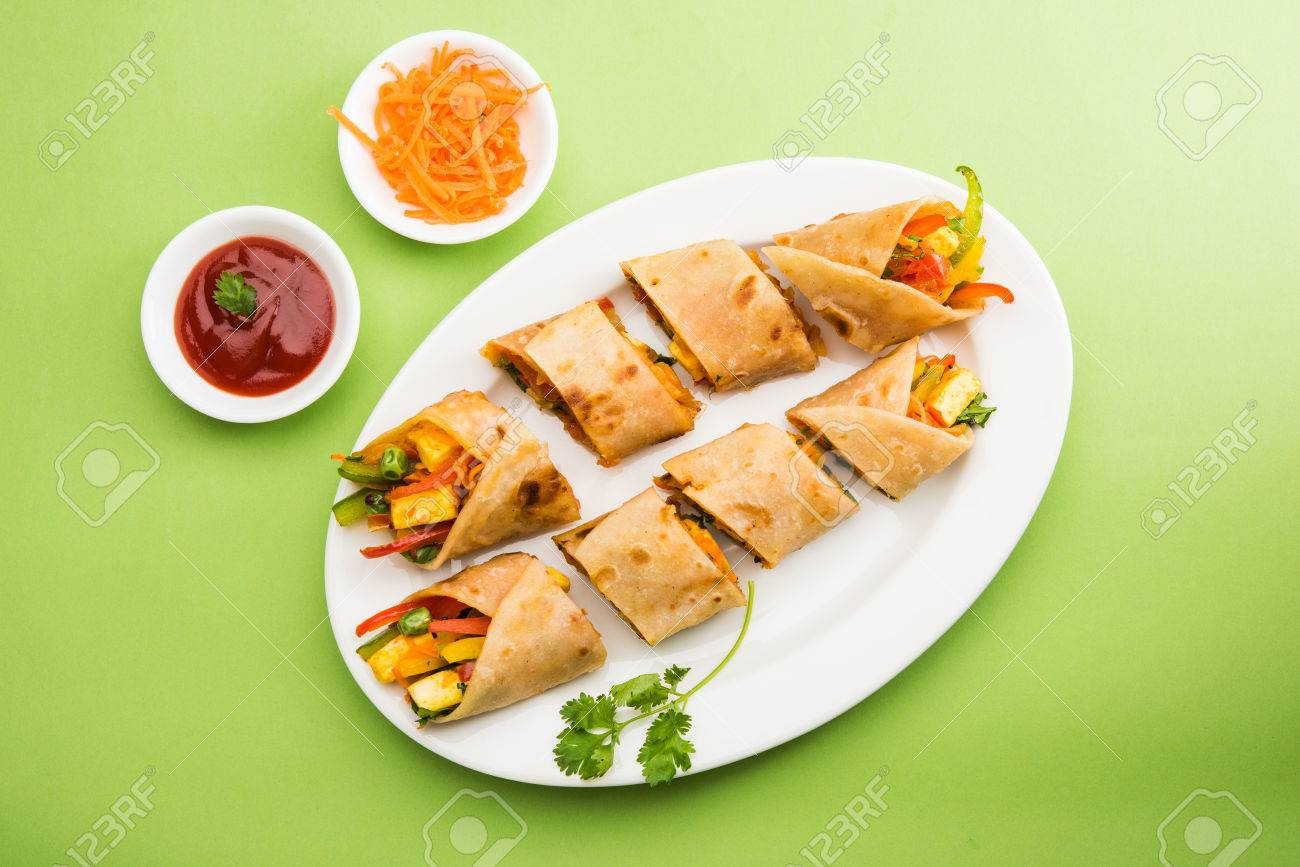 Indian popular snack food called Vegetable spring rolls or veg