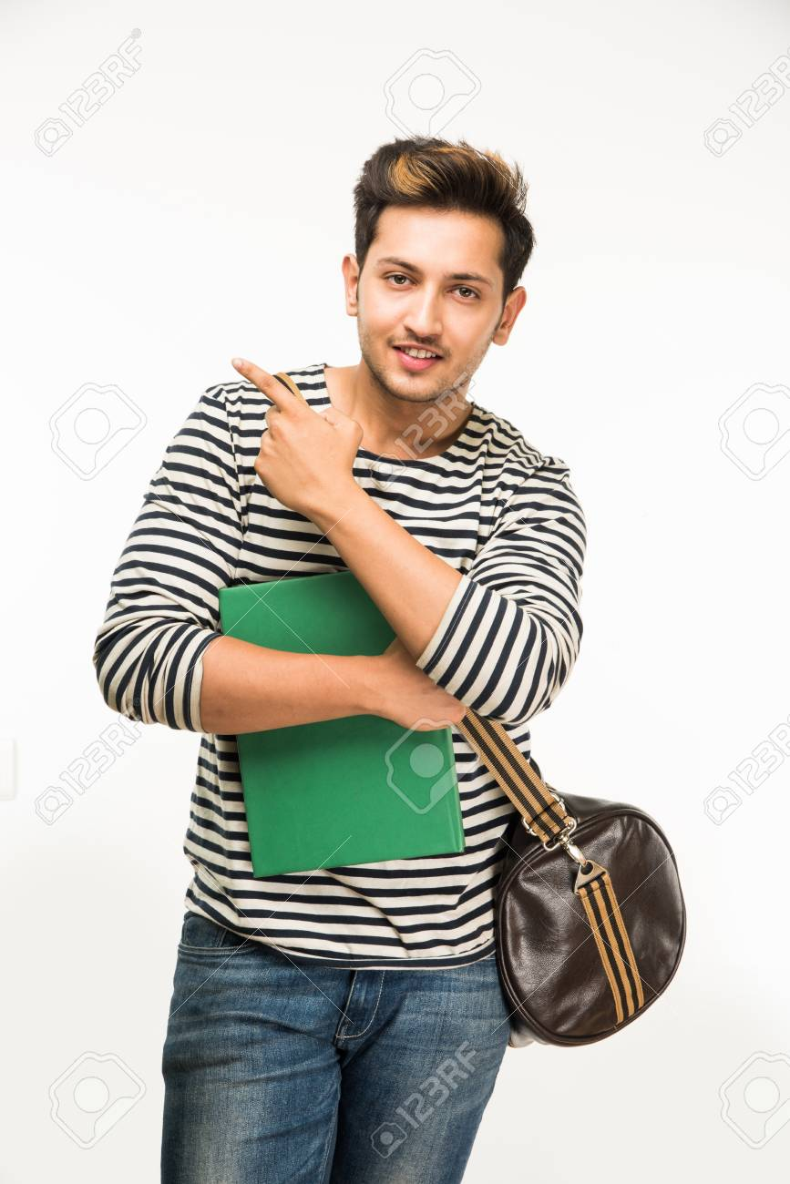 Handsome And Young Indian Male College Student Carrying Bag On.. Stock  Photo, Picture And Royalty Free Image. Image 82494056.