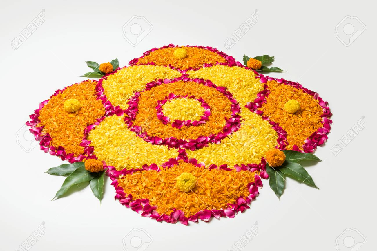 Flower Rangoli For Diwali Or Pongal Made Using Marigold Or Zendu Stock Photo Picture And Royalty Free Image Image 84650720
