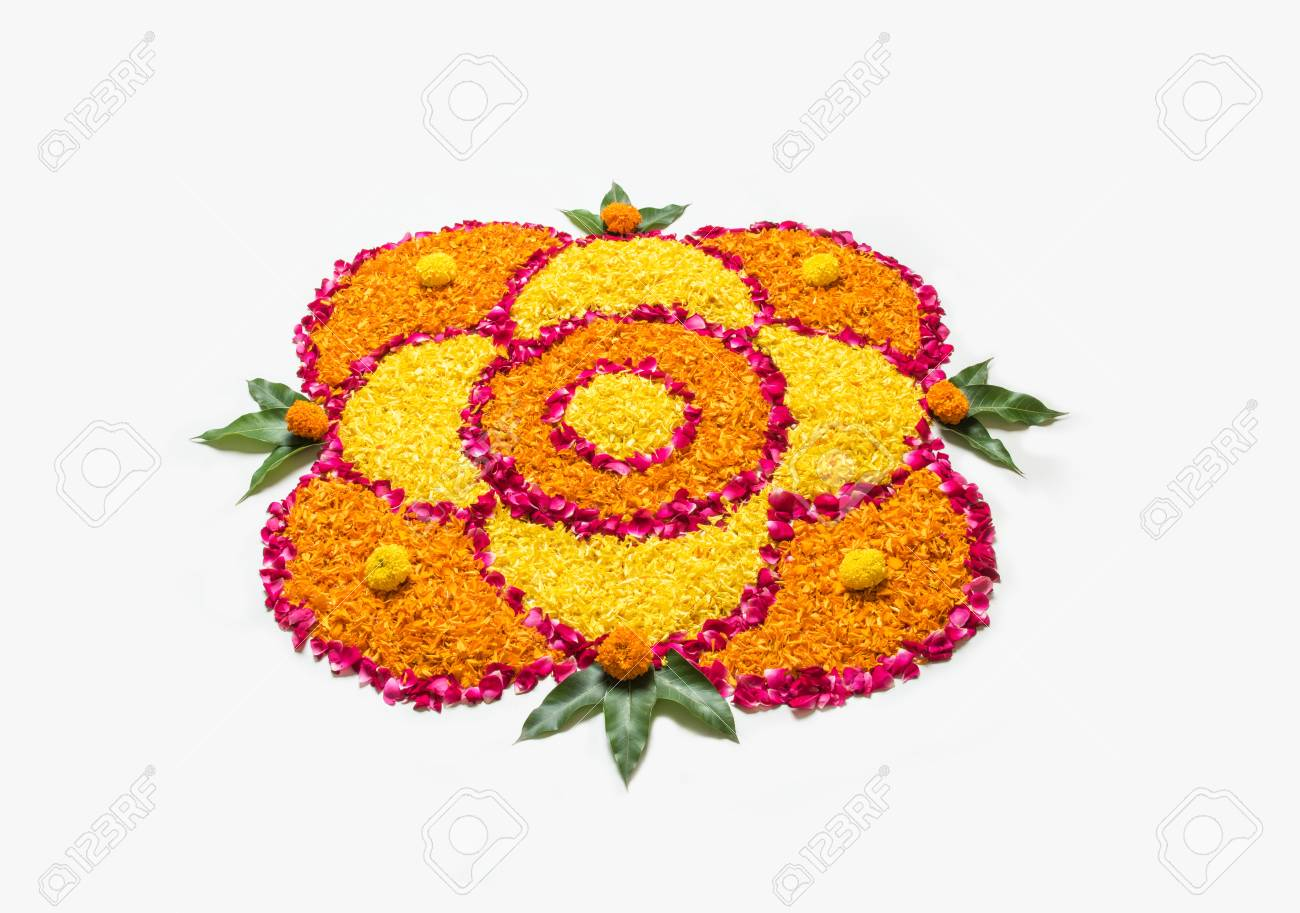 Flower Rangoli For Diwali Or Pongal Made Using Marigold Or Zendu Stock Photo Picture And Royalty Free Image Image 84294531