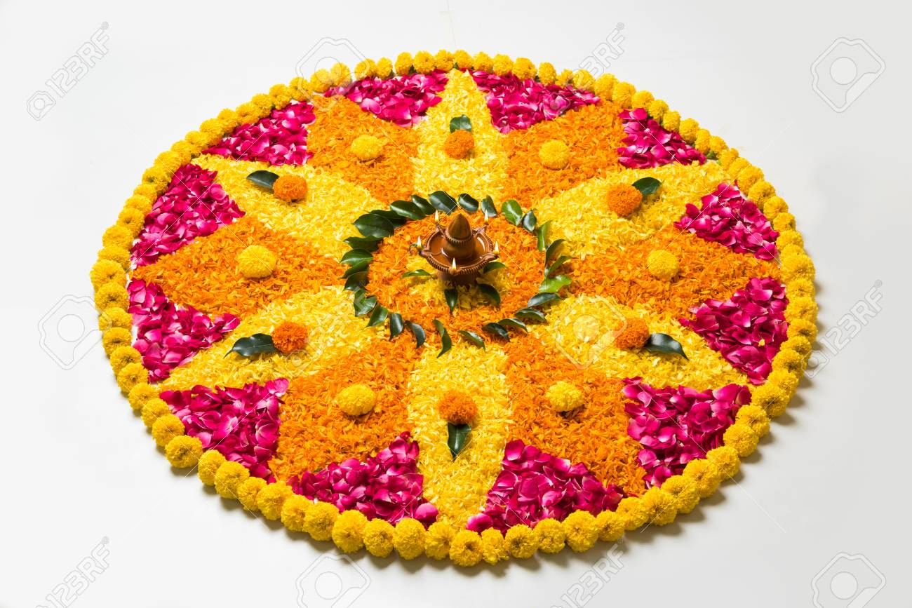 Flower Rangoli For Diwali Or Pongal Made Using Marigold Or Zendu Stock Photo Picture And Royalty Free Image Image 84294533