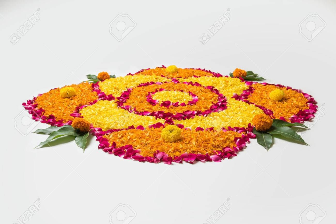 Flower Rangoli For Diwali Or Pongal Made Using Marigold Or Zendu Stock Photo Picture And Royalty Free Image Image 84294532