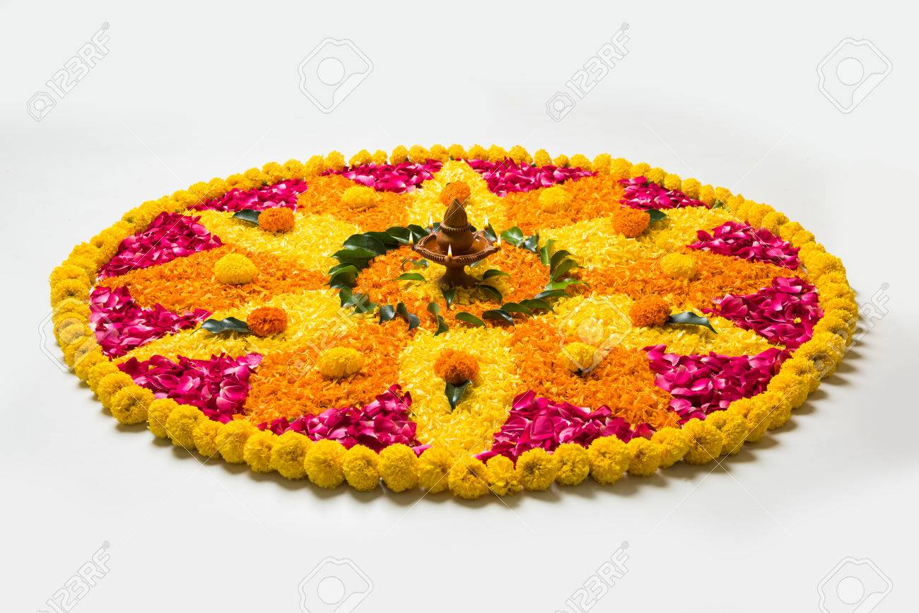 Flower Rangoli For Diwali Or Pongal Made Using Marigold Or Zendu Stock Photo Picture And Royalty Free Image Image 84294534