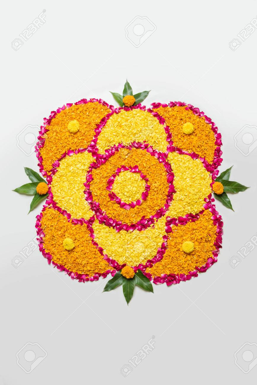 Flower Rangoli For Diwali Or Pongal Made Using Marigold Or Zendu Stock Photo Picture And Royalty Free Image Image 84294538