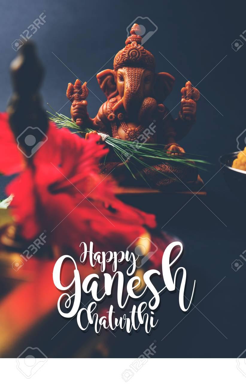 Happy ganesh chaturthi greeting card showing photograph of lord happy ganesh chaturthi greeting card showing photograph of lord ganesha idol pooja or puja thali m4hsunfo
