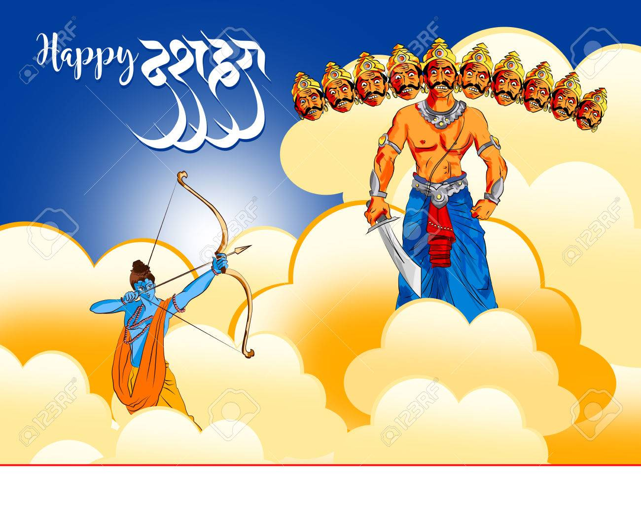 Antique Stock Illustration Of Happy Dussehra Greeting Card