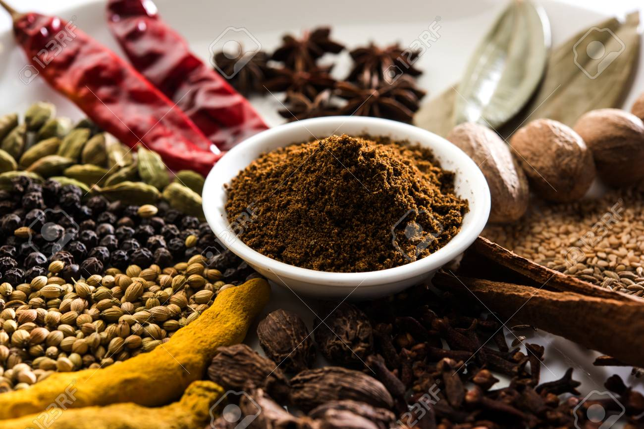 Colourful spices for Garam Masala. Food ingredients for garam masala, indian spice mix with Powder. Selective focus - 92642144