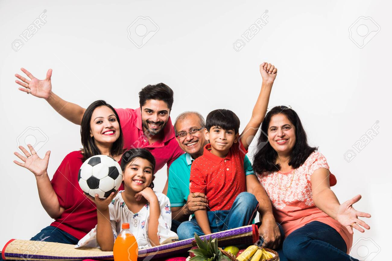 Indian Kids with parents / grandparents, sitting isolated over white background, studio shot - 151173204