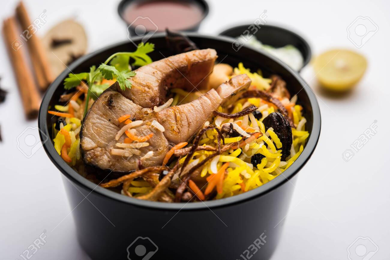 Restaurant Style Fish Biryani Or Pulao Packed For Home Delivery Stock Photo Picture And Royalty Free Image Image 150959177