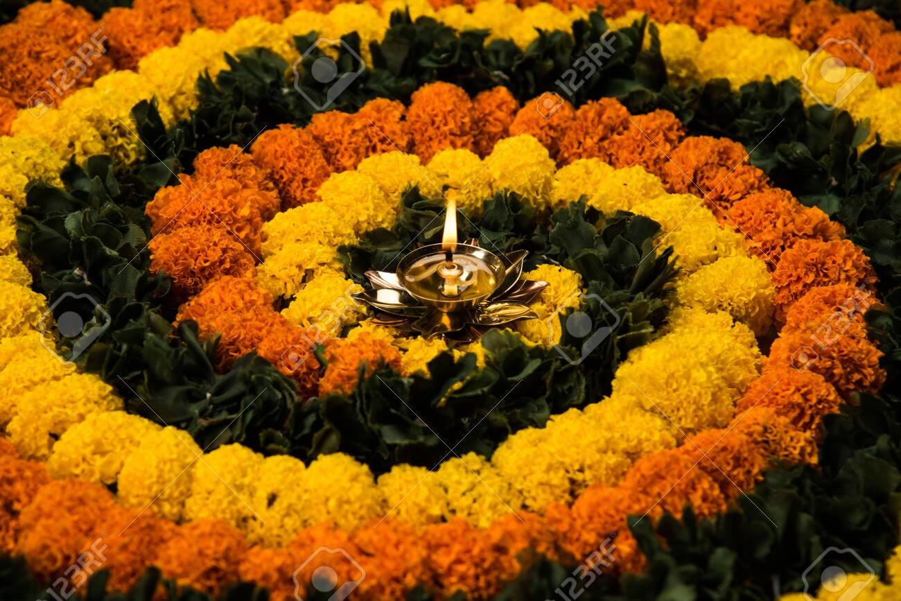 Flower Rangoli For Diwali Or Pongal Festival Made Using Marigold Stock Photo Picture And Royalty Free Image Image 156462204