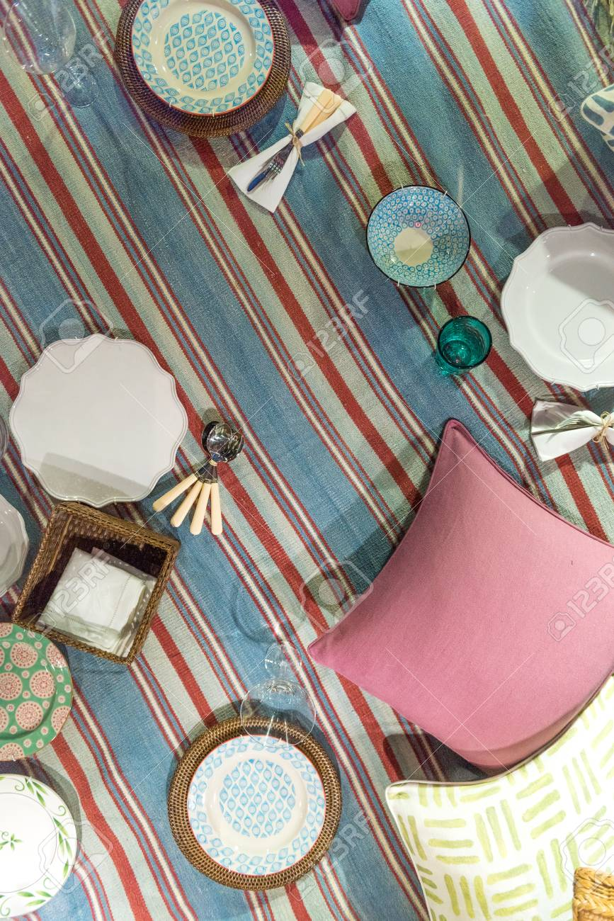 Traditional Classic Picnic Blanket Scene Set Out With Plates