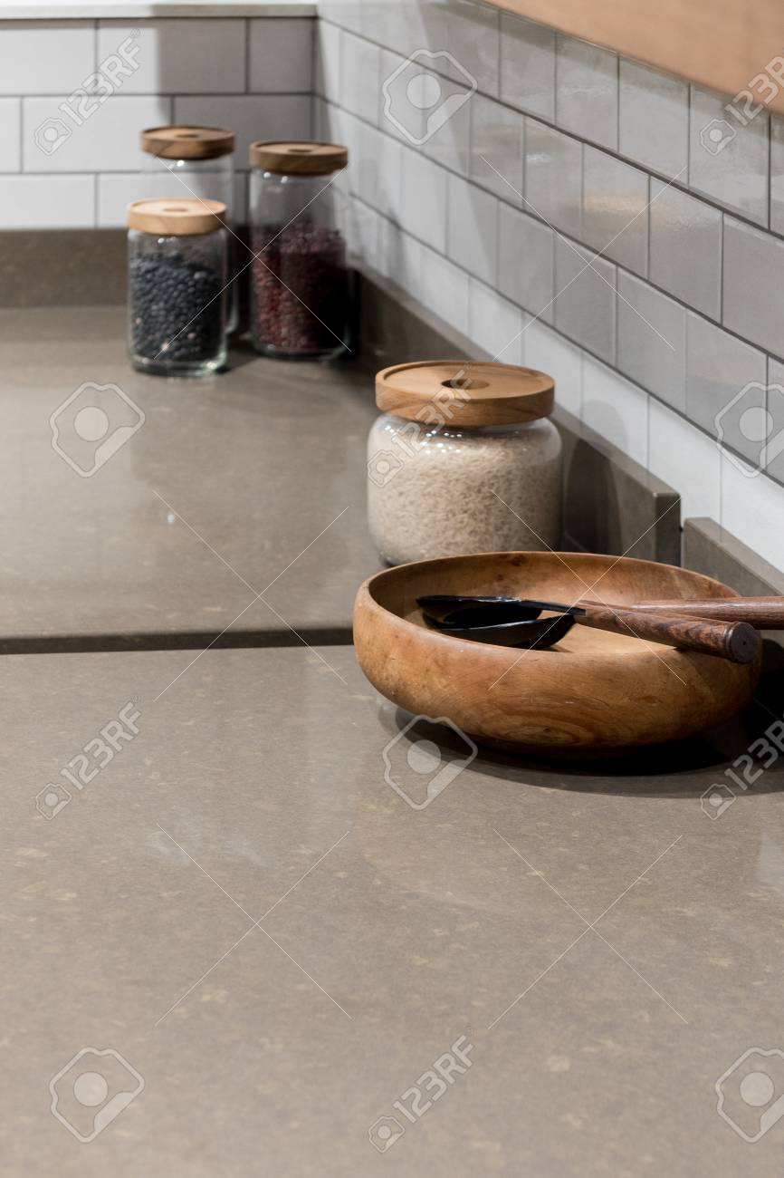 Superb Stock Photo   Wooden Bowl In Bespoke Modern Kitchen