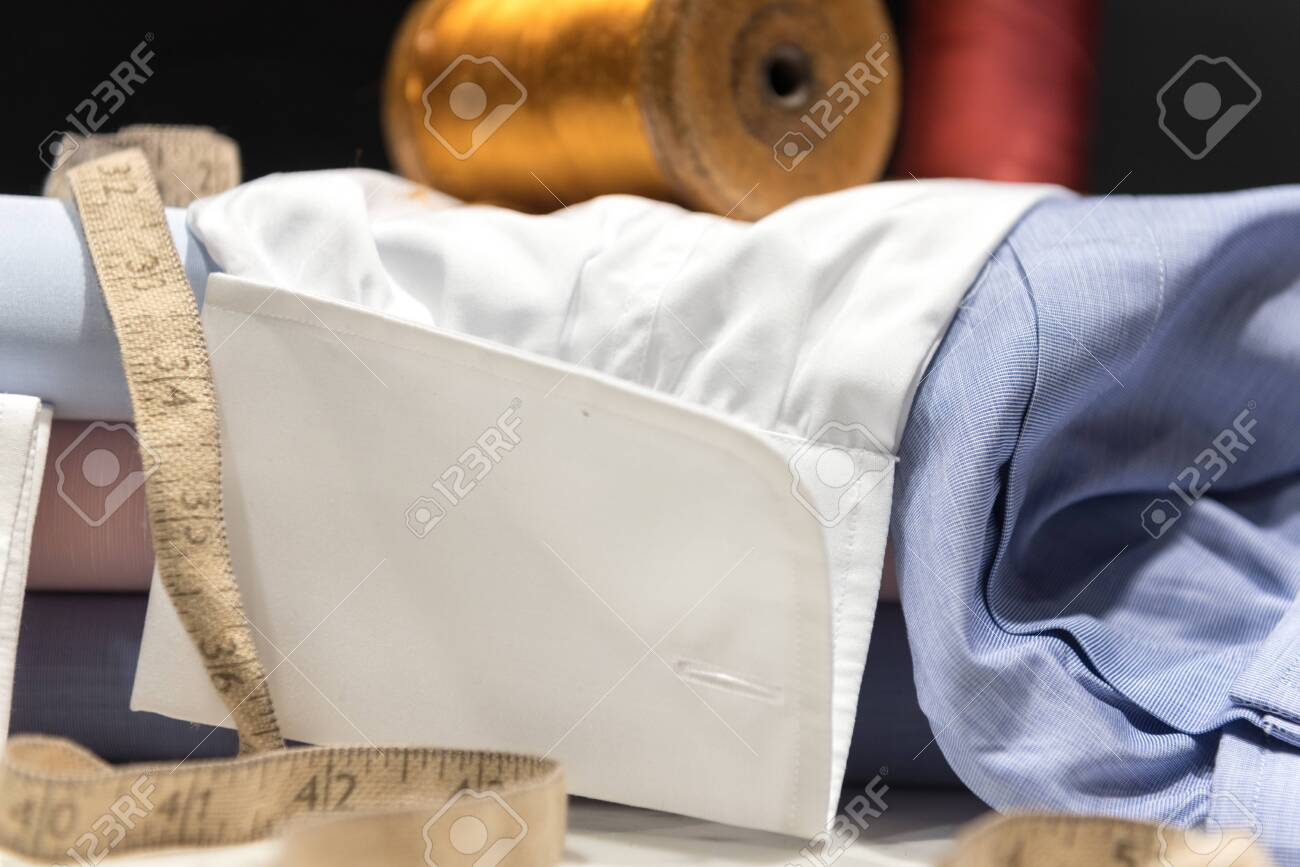 Tailor's Old Tape Measure with Shirt Cuffs and Cufflinks - 143076733