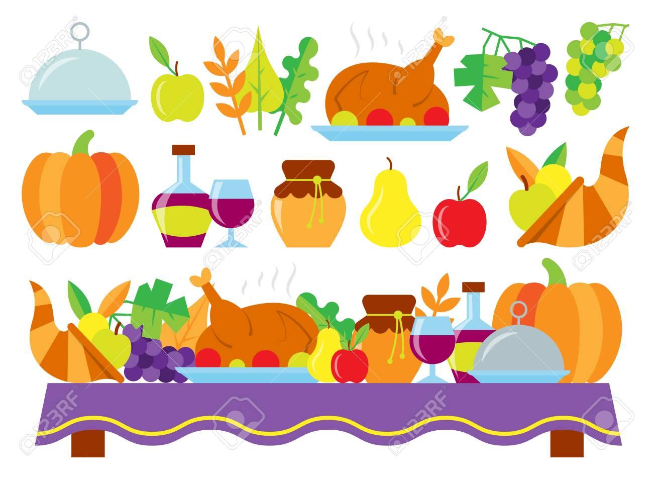 Tarjeta Coloreada Del Día De Acción De Gracias. Comida Para La Cena ...
