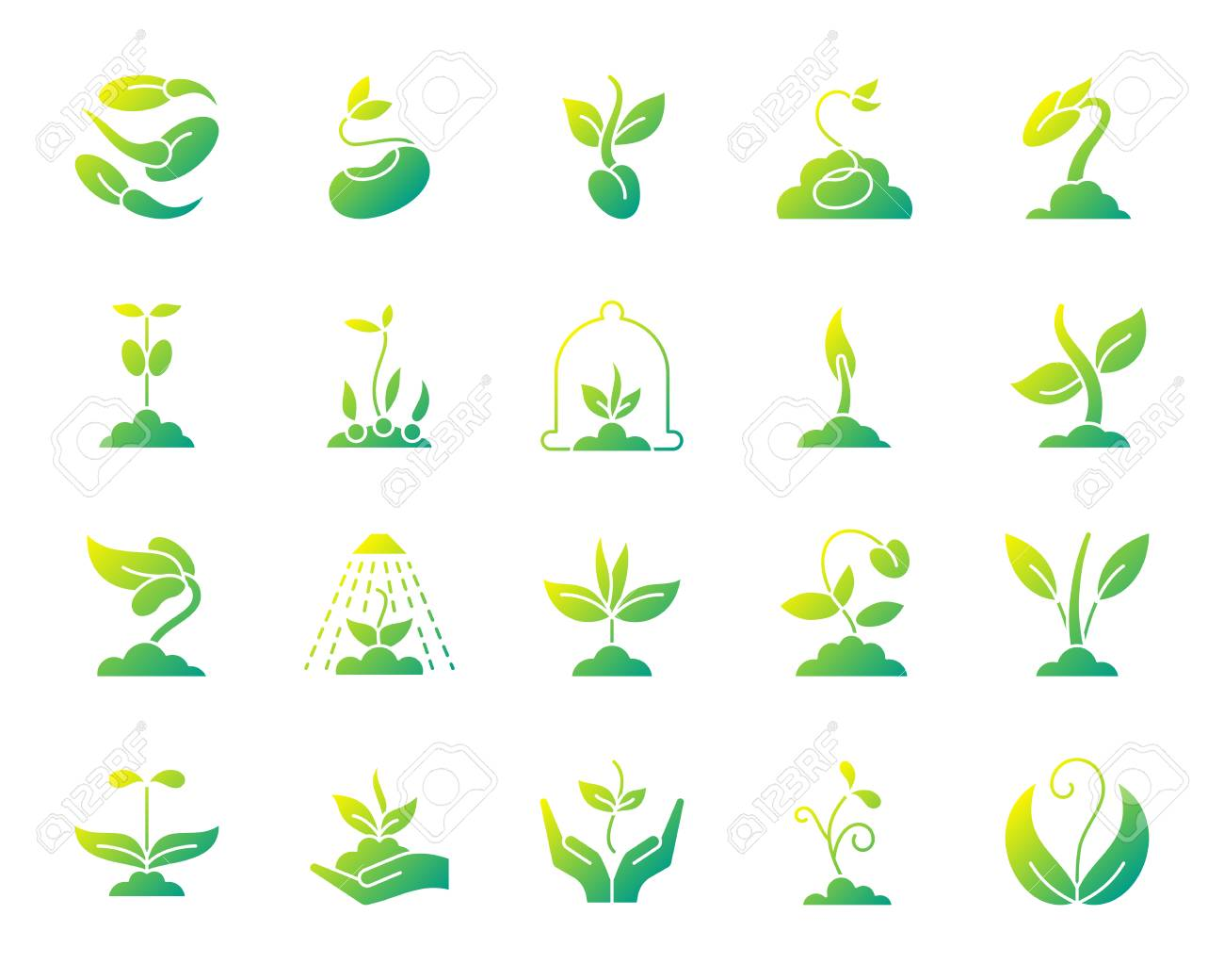 Sprout silhouette icons set. Isolated on white web sign kit of seeds. Plant pictogram collection includes tree, leaves, growing. Simple gradient symbol. Sprout vector icon shape - 101973051