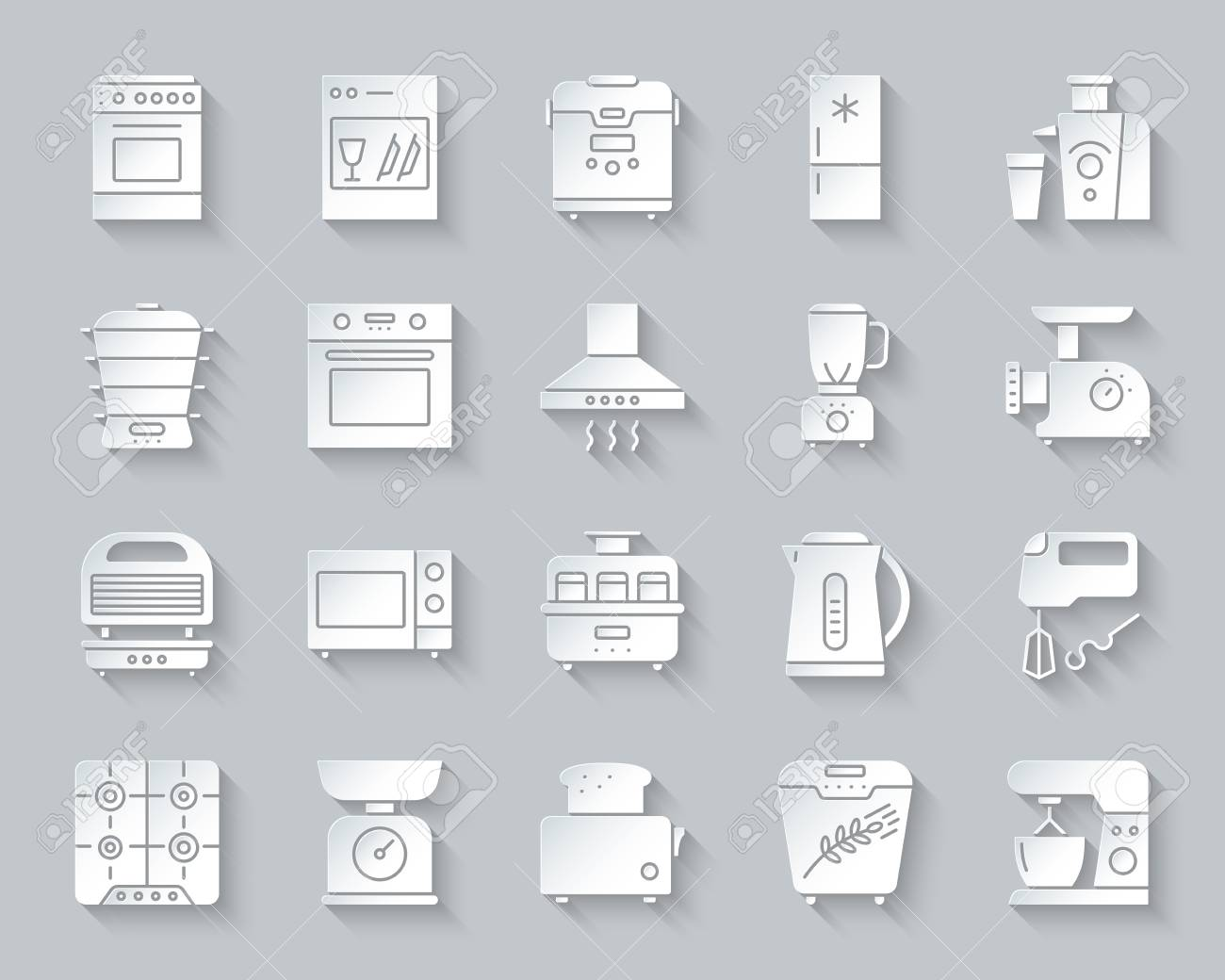 Kitchen Appliance paper cut 3D icons set  Web sign kit of equipment