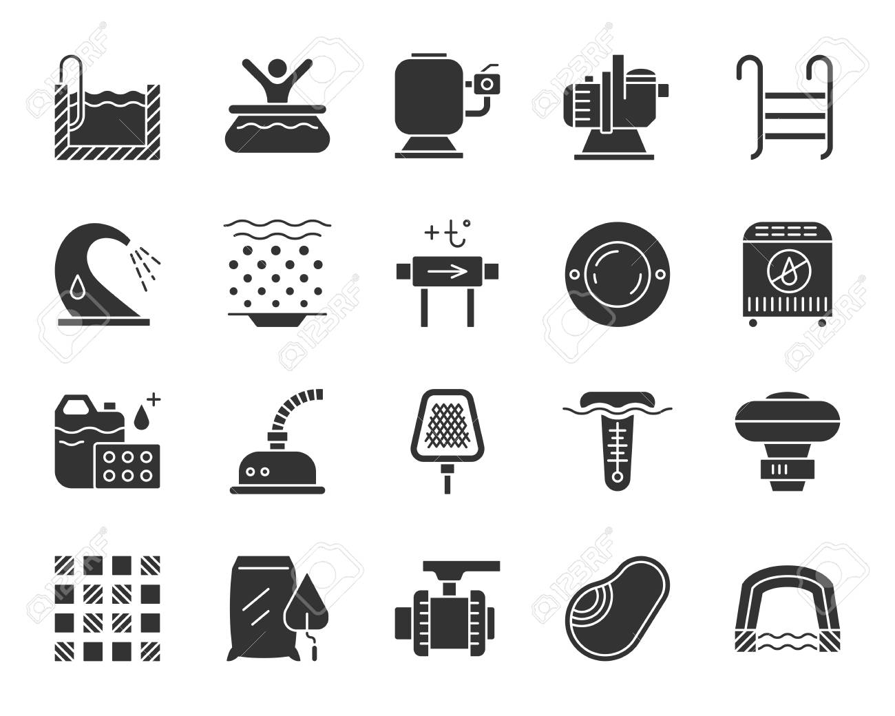 ff04a5e56422 Swimming pool equipment silhouette icons set. Monochrome sign kit of  construction. Repair pictogram collection