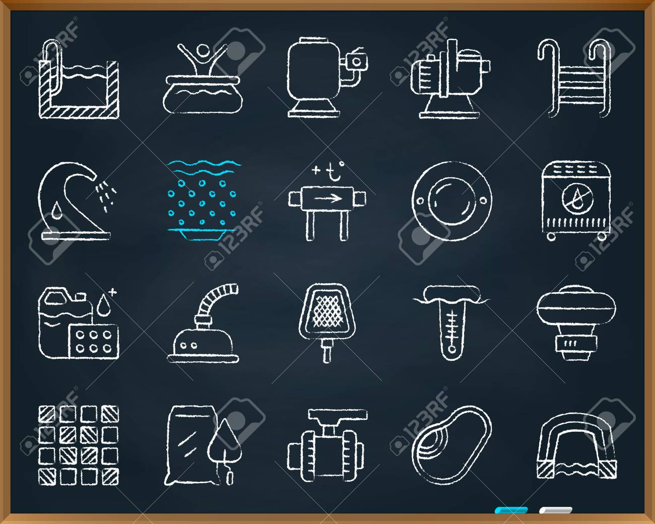 swimming pool equipment chalk icons set  outline web sign kit of  construction  repair linear