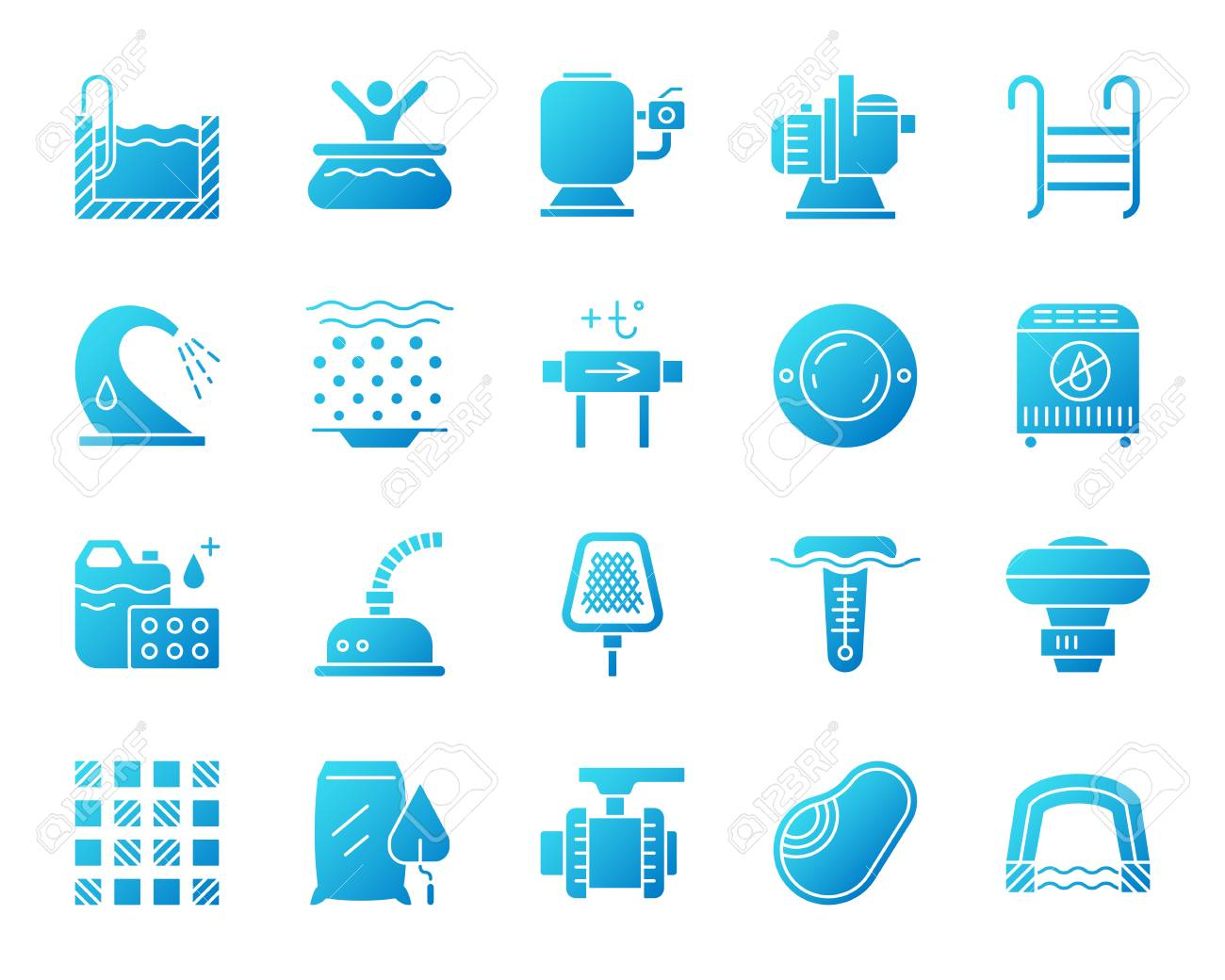 Swimming pool equipment icons set. Isolated sign kit of construction...