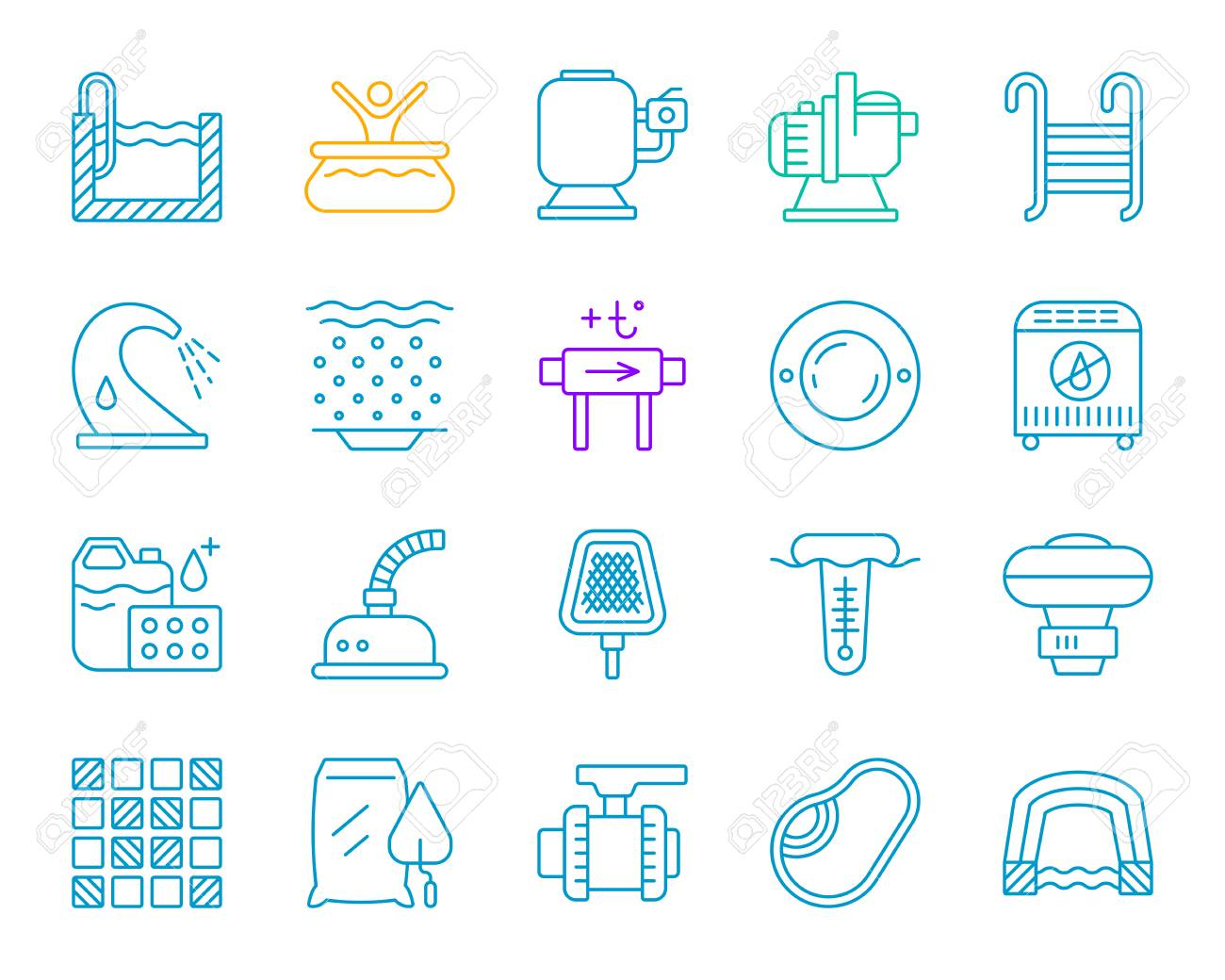 Swimming pool equipment thin line icons set. Outline sign of..