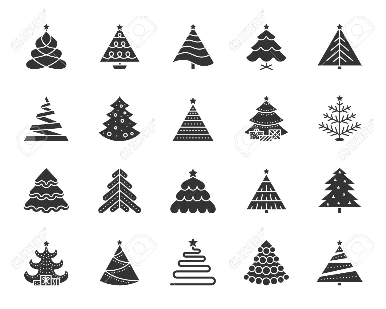 Christmas Tree Icons.Christmas Tree Icons Set Sign Kit Of Xmas Trendy Spruce Stylized