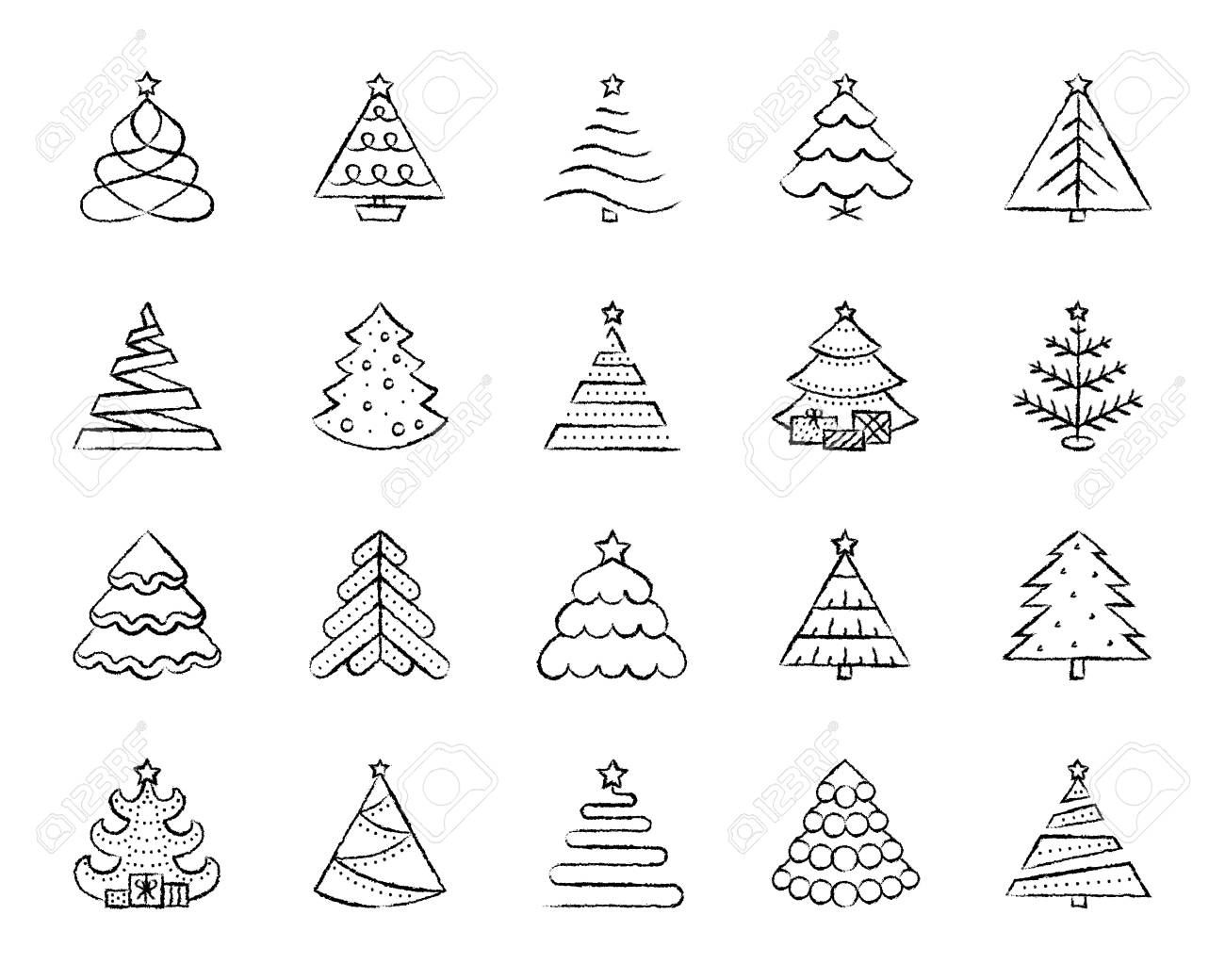 Christmas Tree Charcoal Icon Set Grunge Outline Sign Kit Of Royalty Free Cliparts Vectors And Stock Illustration Image 107974657
