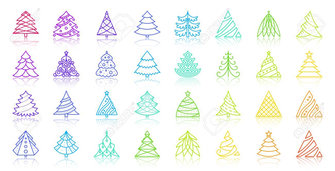 Christmas Tree Clipart Outline.Christmas Tree Thin Line Icons Set Outline Vector Sign Spruce
