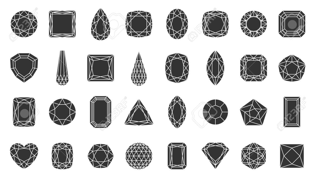 Diamond faceted silhouette icons set. Gem symbol, simple shape pictogram collection. Jewel design element. Gemstone crystal, ruby, emerald flat black sign. Isolated on white icon vector illustration - 128740412