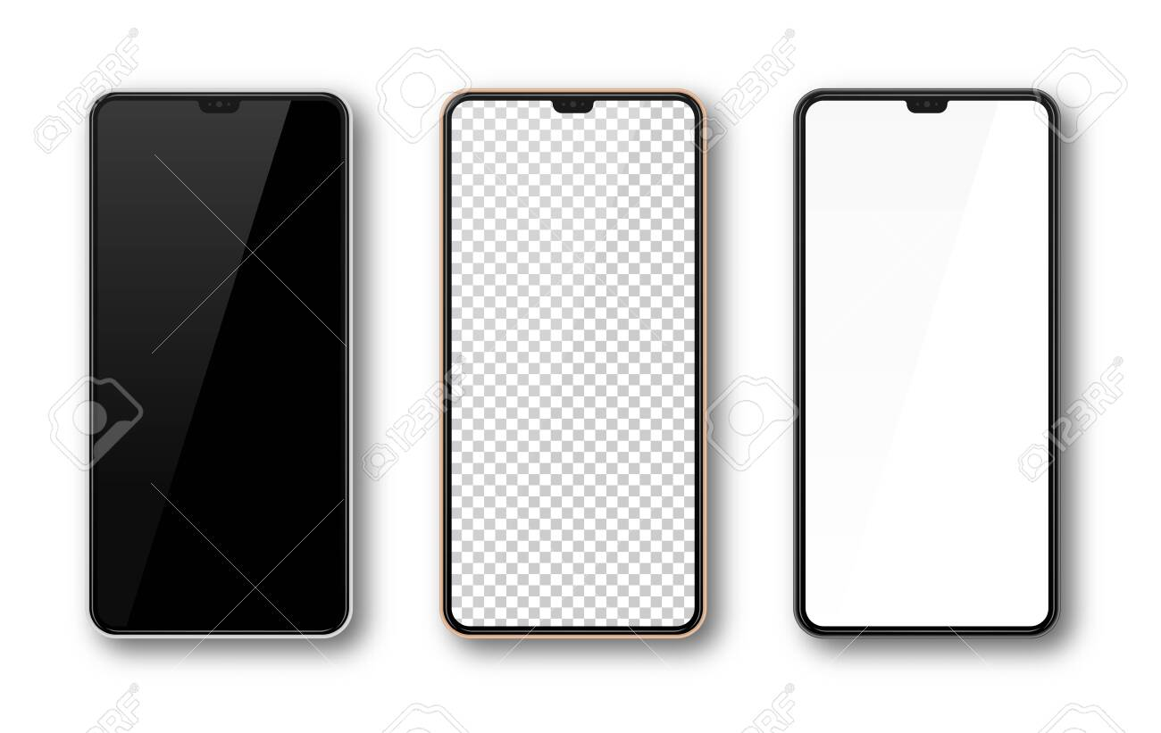 Realistic smartphone mockup set. Mobile phone mock up screen for your design. Modern digital device template. Cellphone display front view. Black, rose gold, white frame. Isolated vector illustration - 131842551