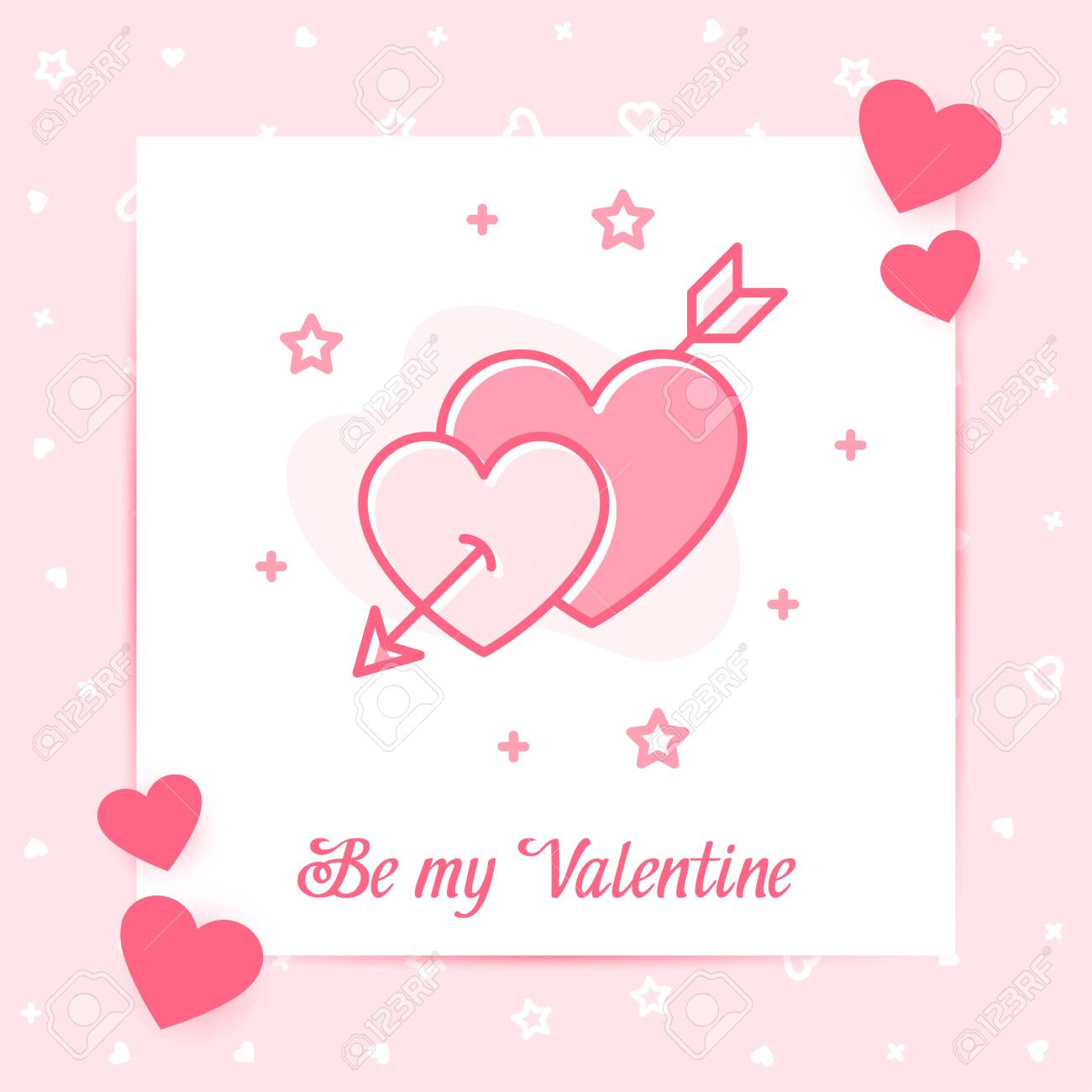 to my valentine hearts red black silver catd free post