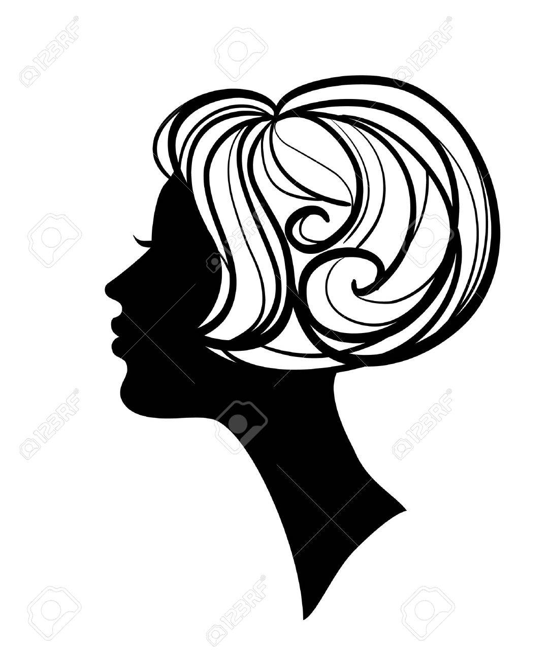 beautiful woman silhouette with hairstyle royalty free cliparts