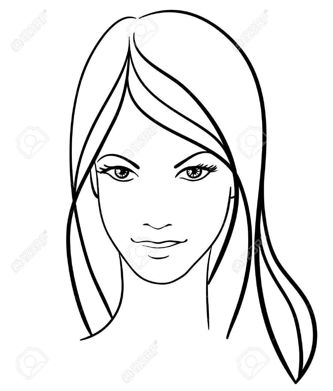 Beauty Girl Face Vector Icon Stock