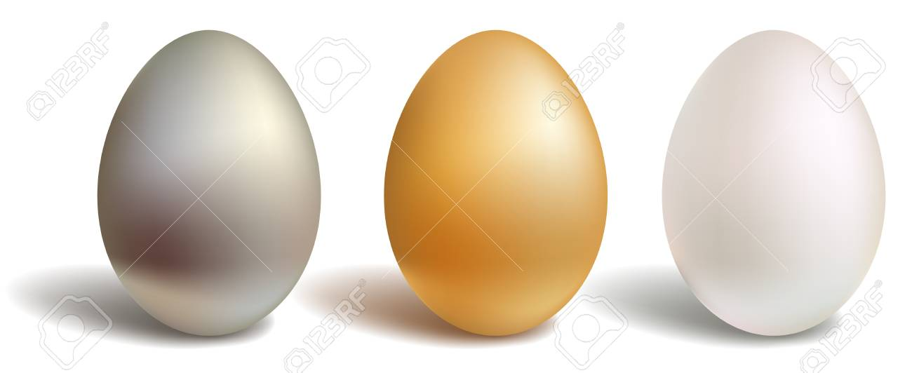3d vector eggs, gold white silver, isolated and white background Stock Vector - 9146760