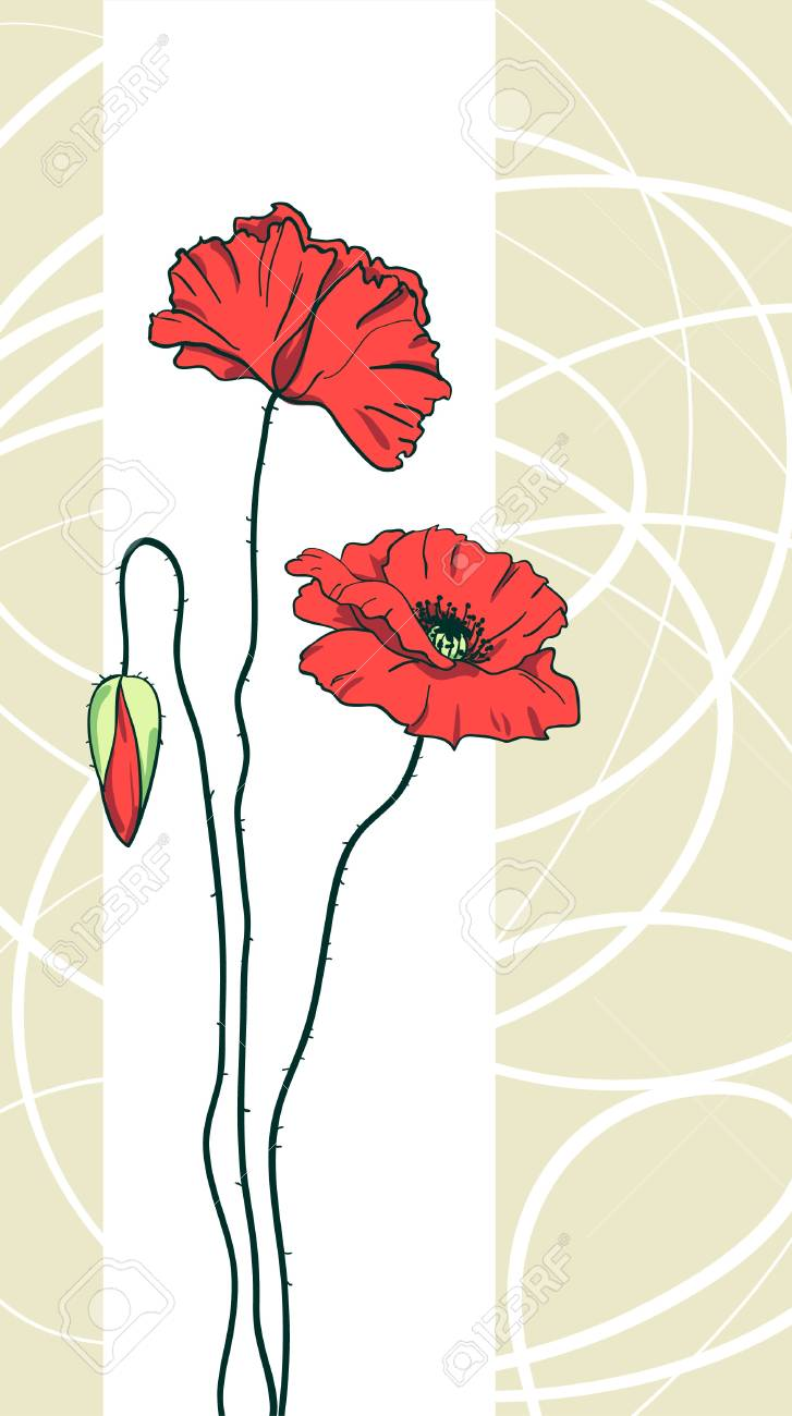 Red poppies floral background Stock Vector - 9392058