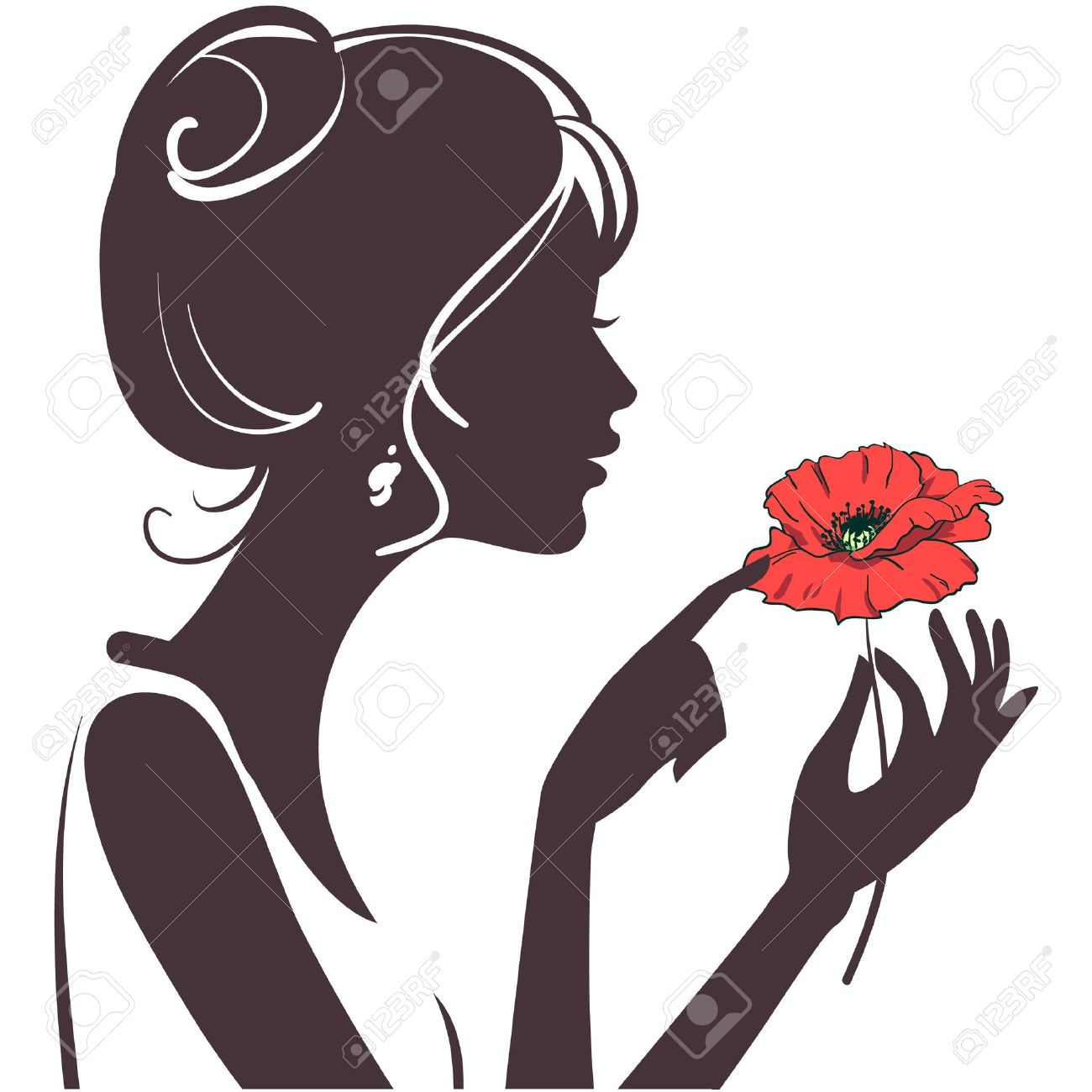 beauty six fingered girl silhouette with red poppy Stock Vector - 9457771