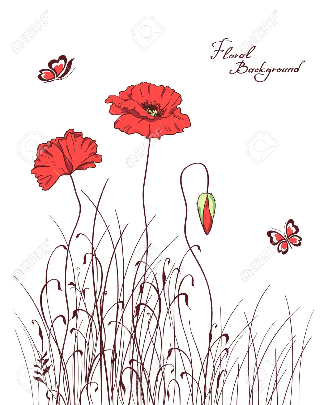 Red Poppy Grass Silhouettes Background Stock Vector